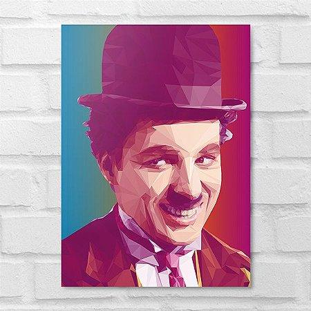 Placa Decorativa - Charles Chaplin Poligonal