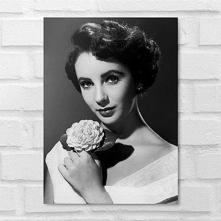 Placa Decorativa - Elizabeth Taylor Clássico P&B