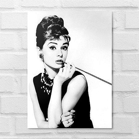 Placa Decorativa - Audrey Hepburn Clássico P&B