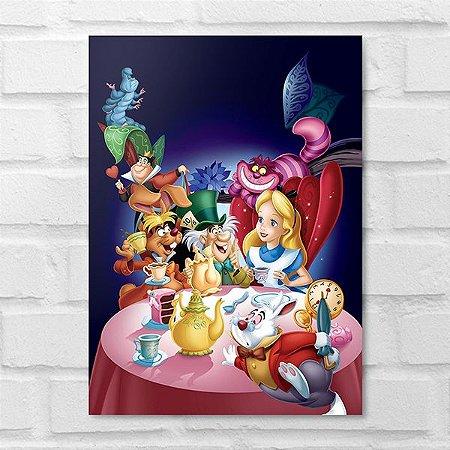 Placa Decorativa - Alice no País das Maravilhas Personagens
