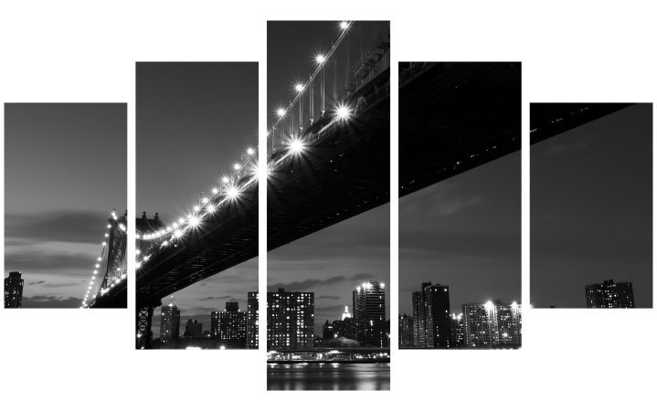 Painel Mosaico Decorativo em 5 partes - Ponte Iluminada