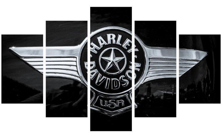 Painel Mosaico Decorativo em 5 partes - Harley Davidson