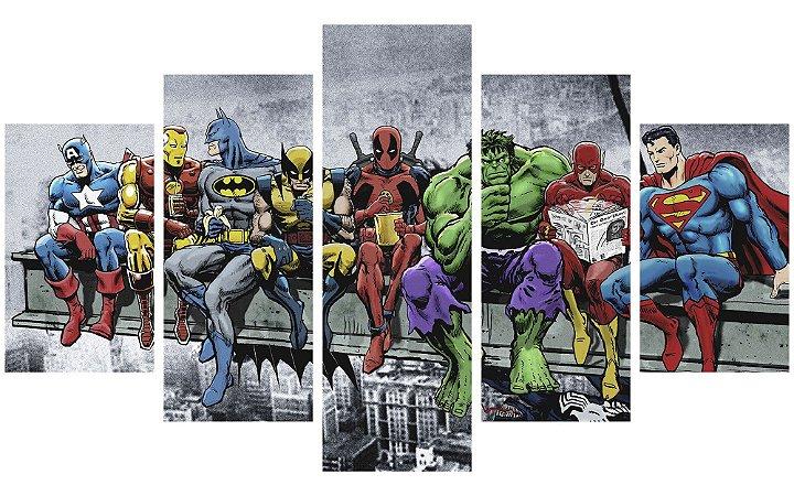 Painel Mosaico Decorativo em 5 partes - Heróis Marvel & DC