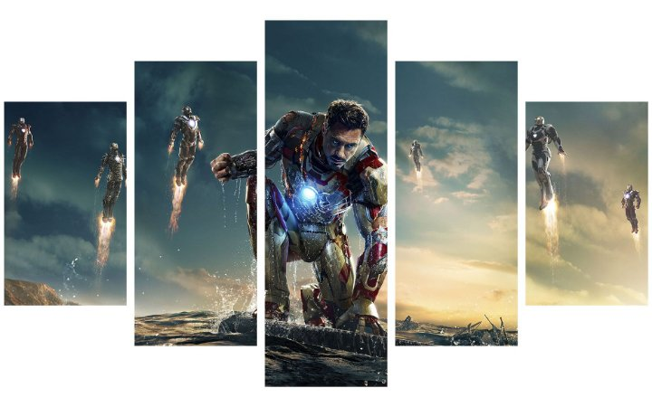 Painel Mosaico Decorativo em 5 partes - Homem de Ferro 3