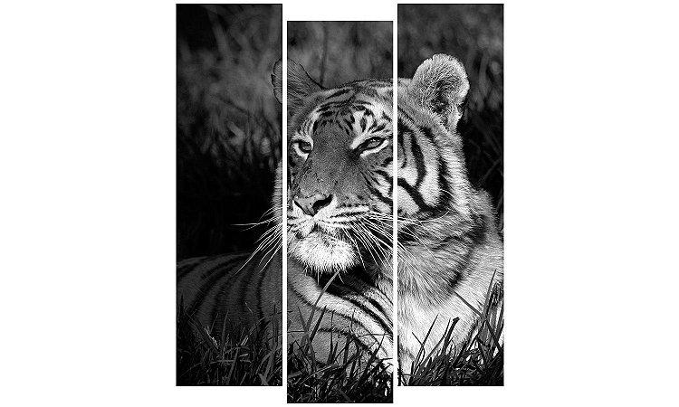 Painel Mosaico Decorativo em 3 partes - Tigre P&B