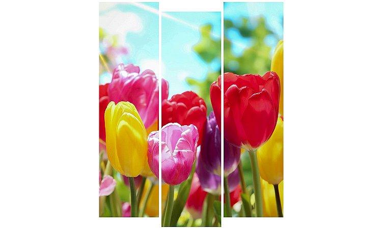 Painel Mosaico Decorativo em 3 partes - Flores