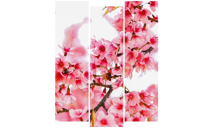 Painel Mosaico Decorativo em 3 partes - Flores 2