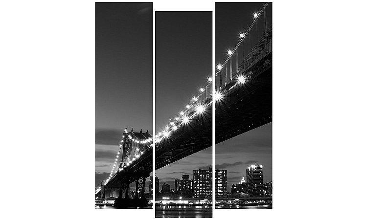 Painel Mosaico Decorativo em 3 partes - Ponte Iluminada