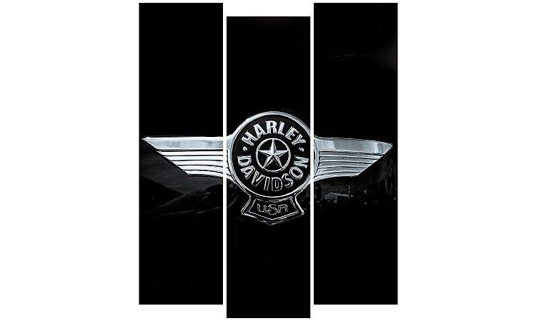 Painel Mosaico Decorativo em 3 partes - Harley Davidson