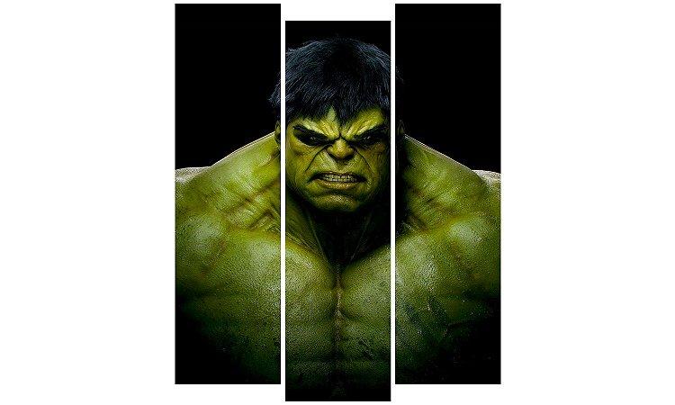 Painel Mosaico Decorativo em 3 partes - Hulk