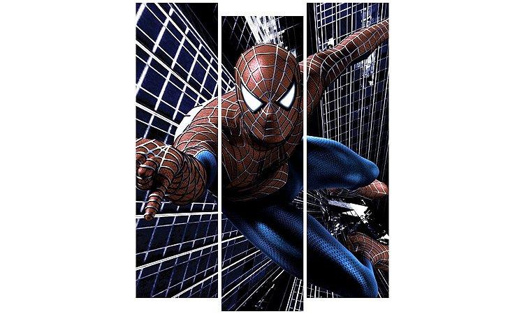 Painel Mosaico Decorativo em 3 partes - Homem Aranha 1