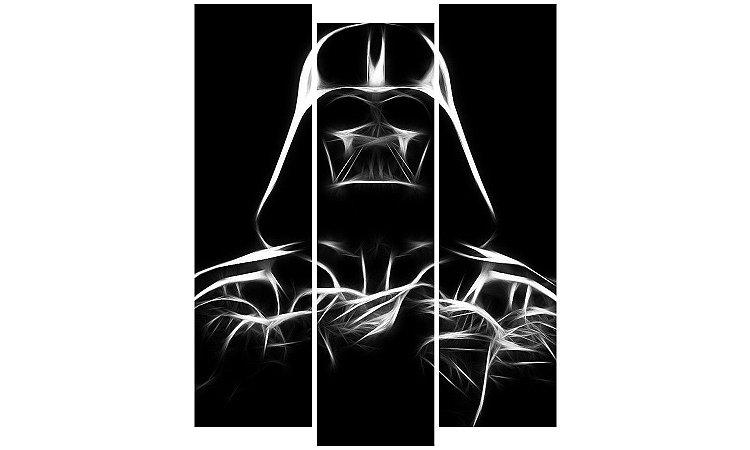 Painel Mosaico Decorativo em 3 partes - Darth Vader em Traços