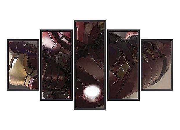 Quadro Mosaico Homem de Ferro em 5 partes