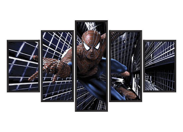 Quadro Mosaico Homem Aranha 1 em 5 partes