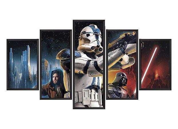 Quadro Mosaico Star Wars Personagens em 5 partes