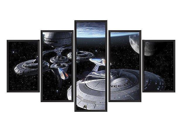 Quadro Mosaico Naves Espaciais em 5 partes