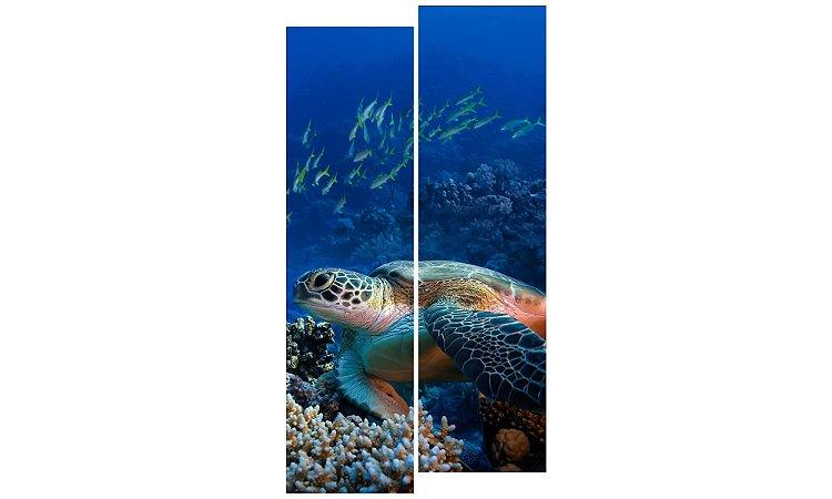 Painel Mosaico Decorativo em 2 partes - Tartaruga