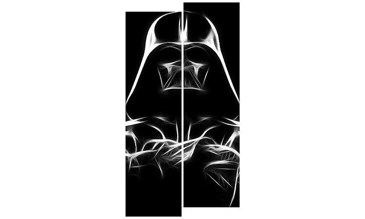 Painel Mosaico Decorativo em 2 partes - Darth Vader em Traços