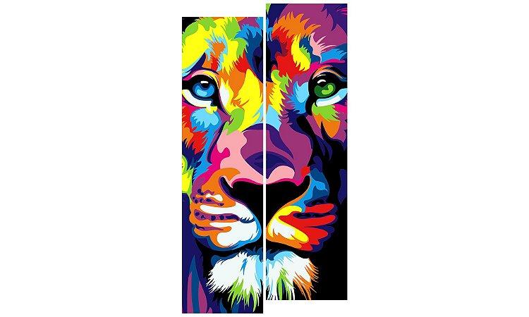 Painel Mosaico Decorativo em 2 partes - Leão Colors