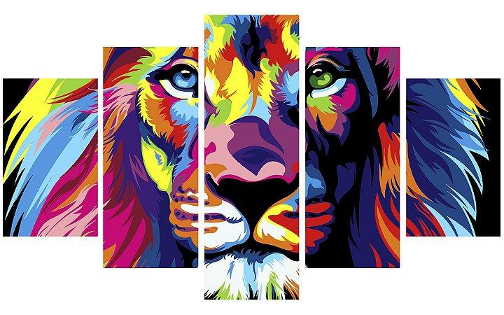 Painel Mosaico Decorativo em 5 partes - Leão Colors