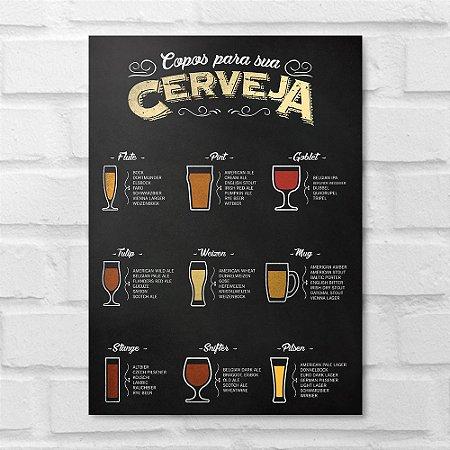 Placa Decorativa - Copos para uma Cerveja