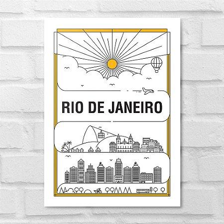 Placa Decorativa - Rio de Janeiro em Traços