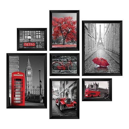 Kit de Quadros Decorativos 7 peças Cidades