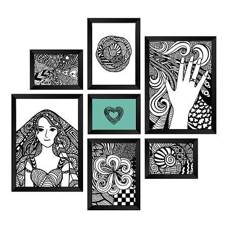 Kit de Quadros Decorativos 7 peças Delicate