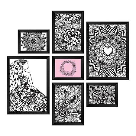 Kit de Quadros Decorativos 7 peças Mandala