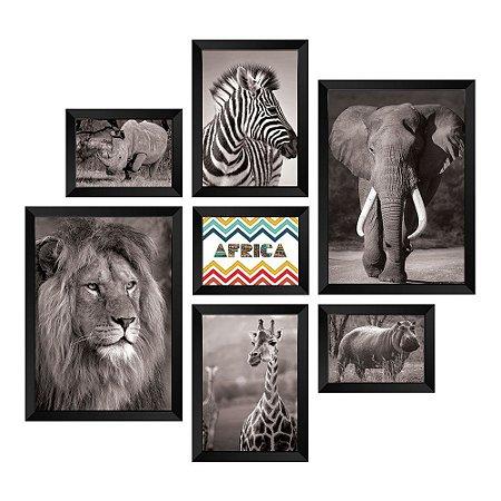 Kit de Quadros Decorativos 7 peças Animais África