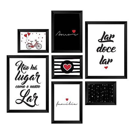 Kit de Quadros Decorativos 7 peças Frases Doce Lar