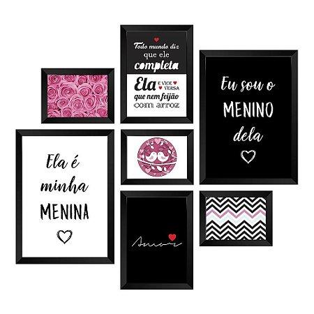 Kit de Quadros Decorativos 7 peças Frases Amor