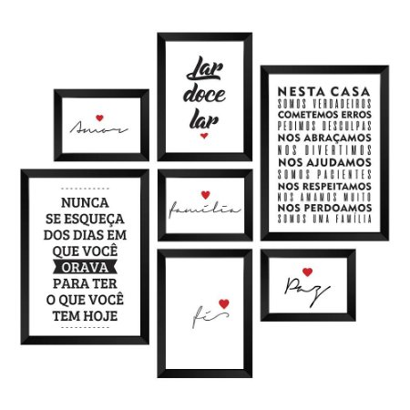 Kit de Quadros Decorativos 7 peças Frases Lar
