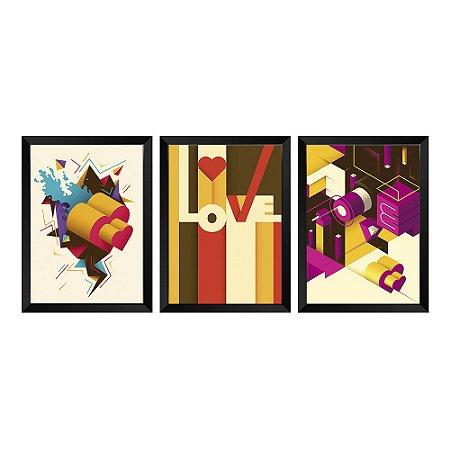 Kit de Quadros Decorativos 3 peças Love