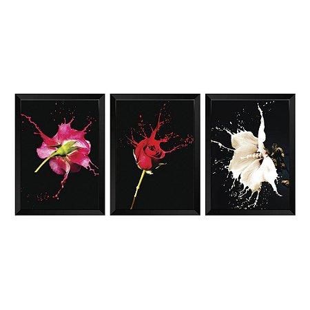Kit de Quadros Decorativos 3 peças  Splash Floral
