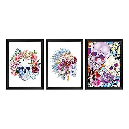 Kit de Quadros Decorativos 3 peças Caveira Floral
