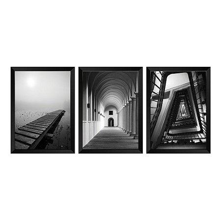 Kit de Quadros Decorativos 3 peças Fotográficos P&B