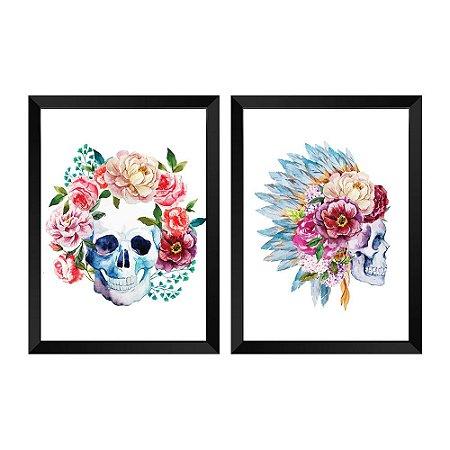 Kit de Quadros Decorativos 2 peças Caveira Floral