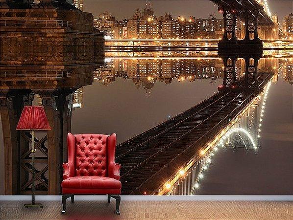 Papel de Parede Fotográfico - Ponte Manhattan Iluminada - PA022