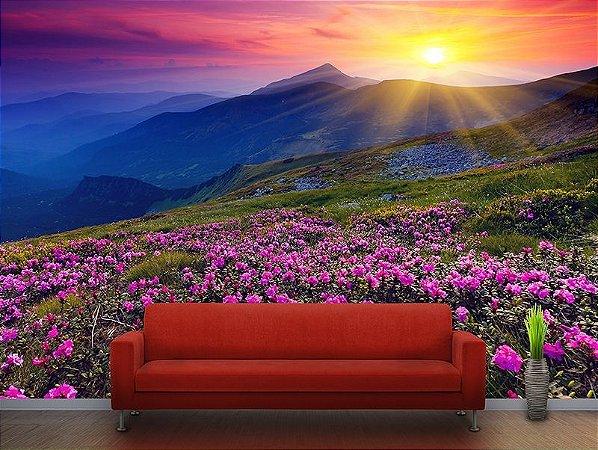 Painel Parede Fotográfico Flores na Montanha