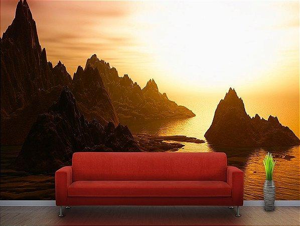 Painel Parede Fotográfico Pôr do Sol nas Montanhas