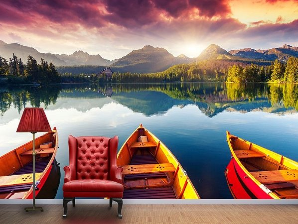 Papel de Parede Fotográfico - Barcos no lago - PA064