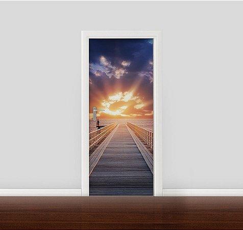 Adesivo para Porta - Píer e Pôr do sol