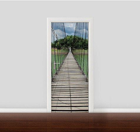 Adesivo para Porta - Ponte de Madeira