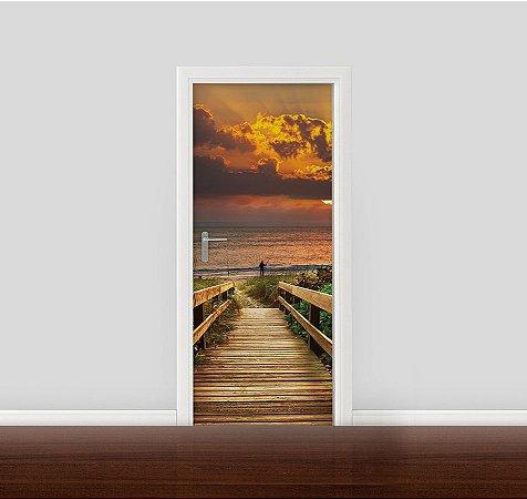 Adesivo para Porta - Deck e Praia ao nascer do sol