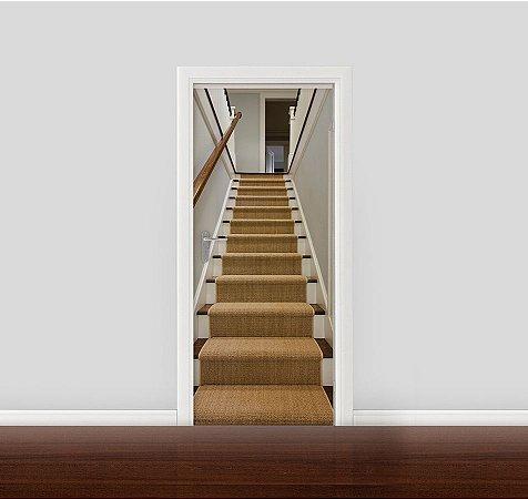 Adesivo para Porta - Escada com tapete