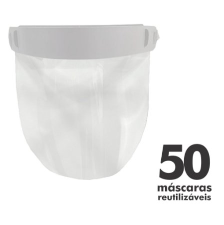 Máscara Facial Protetora - 50 unidades - Reutilizável