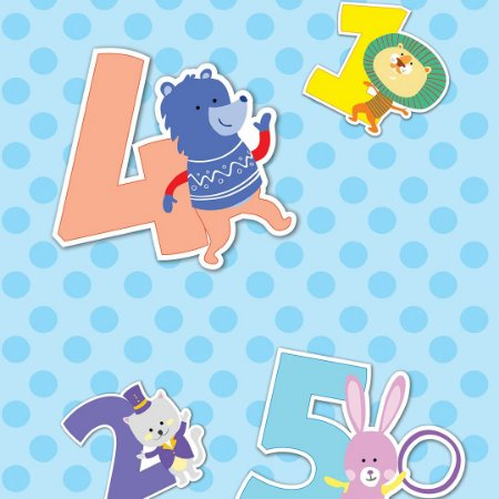Papel de Parede Adesivo Infantil Numeral