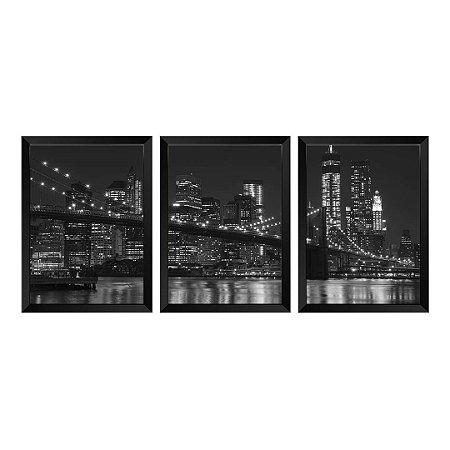 Kit de 3 Quadros Ponte de Brooklyn e Manhattan