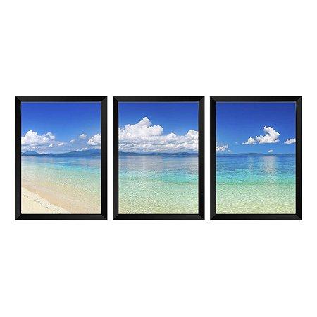 Kit de 3 Quadros Praia Panorâmica Filipinas